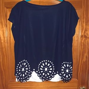 Navy blue designed cut outs blouse short sleeves